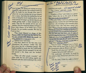 How to do it. David Foster Wallace's copy of C. S. Lewis's The Lion, the Witch, and the Wardrobe (from Parks' article)